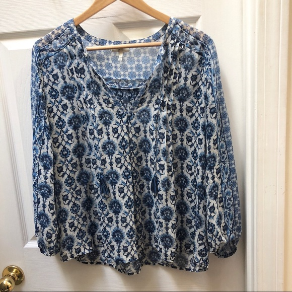 Joie Tops - Joie floral blue white  silk top